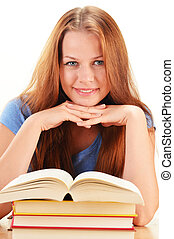 Young woman reading a book Female student learning