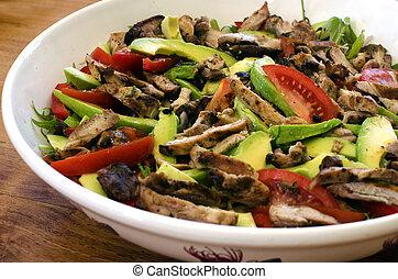 Chicken salad - Fresh green salad bawl with chicken meat...