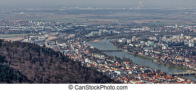 Heidelberg city panorama view from the Königstuhl