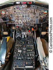 cockpit airliner view, outdated equipment