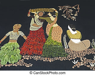 Rangoli of two workingwomen made by using Spices and...
