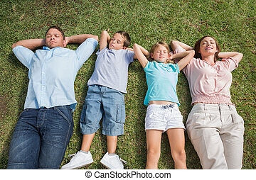 Sleeping family lying on the grass in a row in the park on...