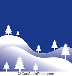 Winter trees - Winter tree holiday background with space for...