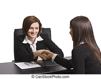 The deal - Businesswomen shaking hands in the office.The...