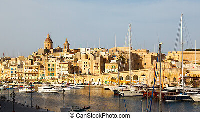 View from the Vittoriosa and yachts, Malta Grand harbor