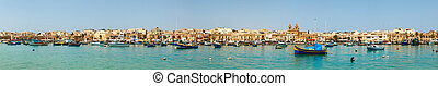 panoramic view of the harbor of Marsaxlokk, Malta 2013