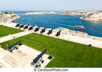 battery and Grand Harbor of Valletta - Saluting battery and...