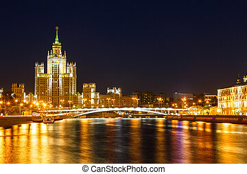 Moscow, Stalin skyscraper on the embankment of the Moscow...