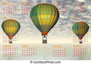calendar 2014 and hot-air balloon