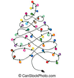 Christmas tree garland lights string of Christmas vector...