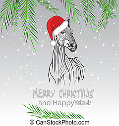 Horse merry Christmas card 2014 year chinese symbol vector...