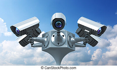 surveillance cameras on sky background, 3d render