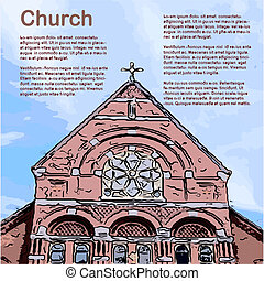Church - Retro Clipart Illustration with Copyspace