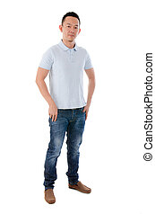 Asian male in casual standing isolated on white background