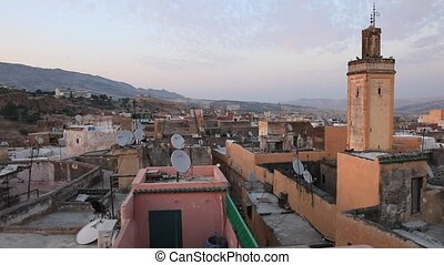 Old medina of Fez, Morocco - View over the roofs of ancient...