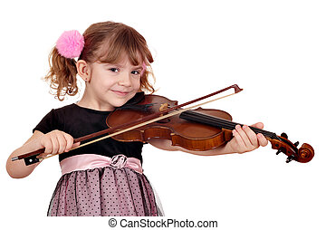 beautiful little girl play violin on white