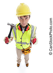 Builder holding hammer thumbs up approval success - Teenage...