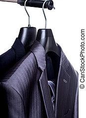 Mens Suit - A close-up shot of an elegant formal mens suit...