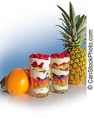 fruit salad and curd - fresh and healthy fruit salad layered...