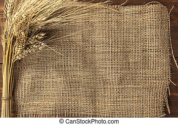 dry wheat on a burlap