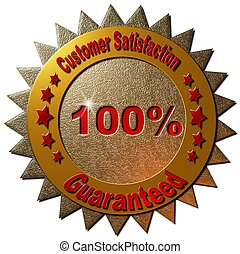 Customer Satisfaction Guaranteed - A red and golden seal...