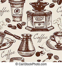 Vintage coffee seamless pattern Hand drawn illustration