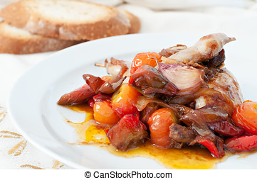 stewed Quail - Quail dish cooked with peppers and tomatoes