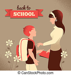 Vintage silhouette of teacher and student. Back to school...
