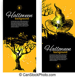 Set of Halloween banners Hand drawn illustration
