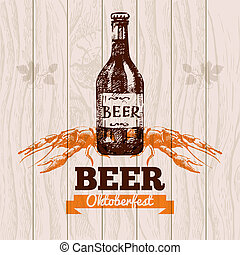 Oktoberfest vintage background. Beer hand drawn...