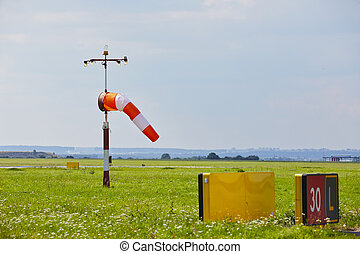 Windsock at the airport - copy space
