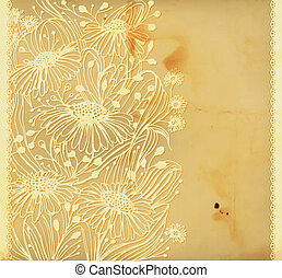 Daisies - Old paper background with hand -drawn daisies and...