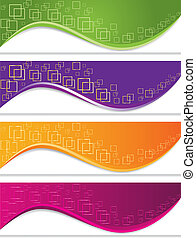 Banner set with geometric forms