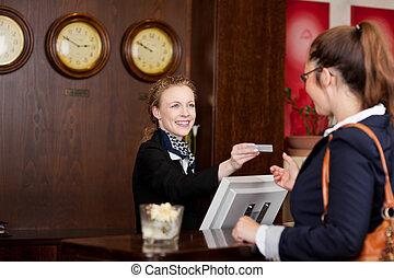 huésped, hotel, petición, tarjeta