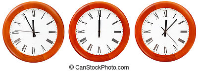 set of wall clock with twelve o clock isolated on white...