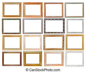 set of wide picture frames with cutout canvas isolated on...