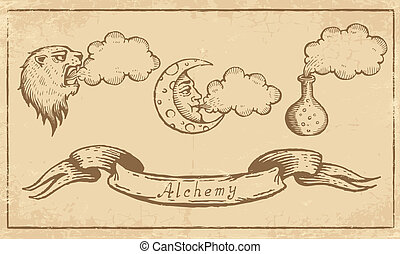 Alchemical Symbols - Magic alchemical Symbols in old yellow...