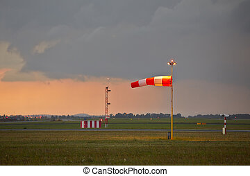 Storm - The storm is approaching the airport - copy space