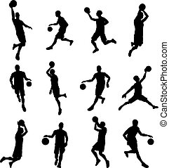 Basketballl player silhouettes