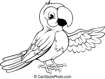 Happy cartoon parrot - Black and white illustration of a...