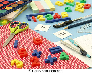 Back to school - Closeup of colorful equipment for math...
