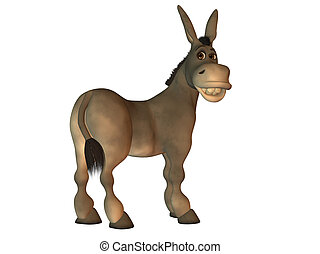 Cartoon donkey smiling isolated on white