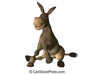 Cartoon donkey sitting down smiling isolated on white