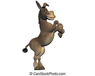 Cartoon donkey standing on hind legs smiling isolated on...
