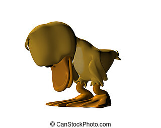 Cartoon duck looking embarrased with head down isolated on...