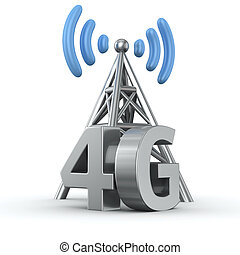4G transmitter - Metal antenna symbol with letters 4G on...