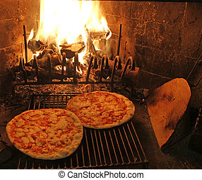 excellent fragrant pizza baked in a wood fireplace 2 -...