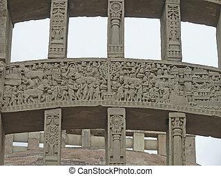 Carved sculpture at Purvi Toran Dwar, East gate, Stupa No....