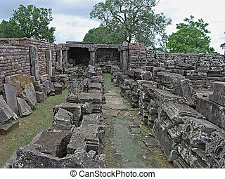 Sanchi - Structure of Temple 45 near Sanchi Stupa No one,...