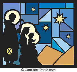 nativity - illustration of nativity with a mosaic background